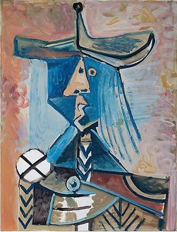Pablo Picasso, Personnage, 1971 Oil on canvas, 45 ¾ × 35 inches (116.2 × 88.9 cm)© Estate of Pablo Picasso/Artists Rights Society (ARS), New York
