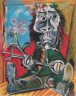 Pablo Picasso, Portait de l'homme à l'épée et à la fleur, 1969 Oil on canvas, 57 ½ × 45 ½ inches (146 × 115 cm)© 2009 Estate of Pablo Picasso / Artists Rights Society (ARS ), New York