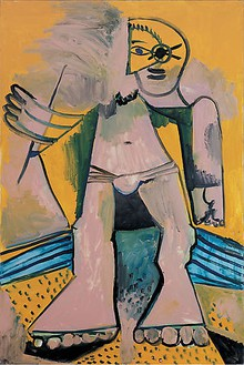 Pablo Picasso, Personnage, 1971 Oil on canvas, 76 ¾ × 27 ½ inches (195 × 130 cm)© 2009 Estate of Pablo Picasso/Artists Rights Society (ARS), New York