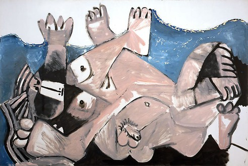 Pablo Picasso, Étreinte, 1972 Oil on canvas, 51 ¼ × 76 ¾ inches (130 × 195 cm)© 2009 Estate of Pablo Picasso/Artists Rights Society (ARS), New York