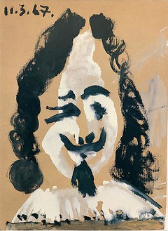 Pablo Picasso, Portrait d'homme du 17ème siècle, 1967 Oil on cardboard, 9 ¾ × 7 inches (24.5 × 18 cm)© 2009 Estate of Pablo Picasso/Artists Rights Society (ARS), New York