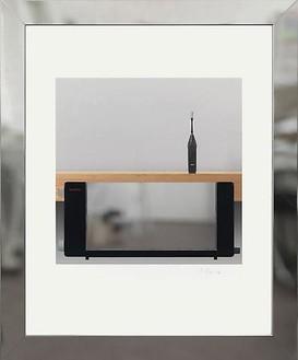 Richard Hamilton, Toaster deluxe 1, 2008 Inkjet, stainless steel, polycarbonate, on Somerset Velvet for Epson paper 505 gsm, GM WaterWhite Museum glass, tulip wood, brass, expanded neoprene, polyethylene, 34 13/16 × 28 ⅞ inches framed (88.5 × 73.3 cm)
