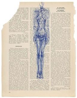 Alberto Giacometti, Femme debout (certificate no. 1569), 1963 Ballpoint pen on book page, 9 ¼ × 12 ¼ inches (23.5 × 31 cm)© Succession Alberto Giacometti (Fondation Giacometti + ADAGP), Paris 2010