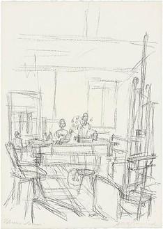 Alberto Giacometti, Sculptures dans l'atelier à Stampa, 1965 Lithograph, 22 × 15 ½ inches (56.2 × 39.7 cm)© Succession Alberto Giacometti (Fondation Giacometti + ADAGP), Paris 2010