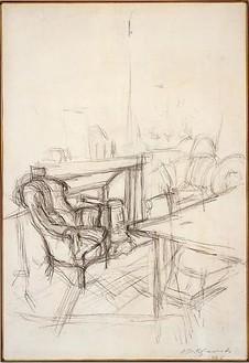 Alberto Giacometti, Interior, 1946 Pencil on paper, framed: 27 ½ × 21 ⅛ inches (69.8 × 53.7 cm)© Succession Alberto Giacometti (Fondation Giacometti + ADAGP), Paris 2010