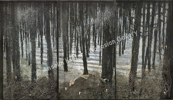 Anselm Kiefer, Winterwald, 2010 Oil, emulsion, acrylic, shellac, ash, torn bushes, synthetic teeth, and snakeskin on canvas, in glass and steel frames; in 3 parts; overall: 130 ¾ × 226 ¾ × 13 ¾ inches (332 × 576 × 35 cm)© Anselm Kiefer
