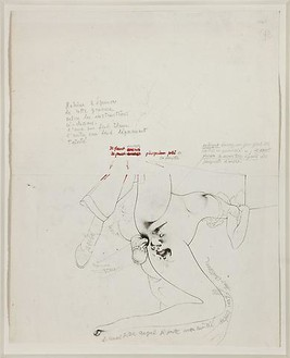Hans Bellmer, Story of the Eye, 1946 Etching, red ink, and pencil on paper, 12 × 9 ¾ inches (30.5 × 24.8 cm)