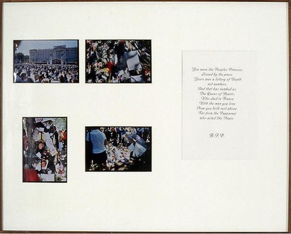 Jeremy Deller, Another Country (The Mall London 3/9/97), 1997 Photographs, photocopy, mat, and frame, 25 ½ × 31 ¼ inches (64.4 × 79.4 cm)