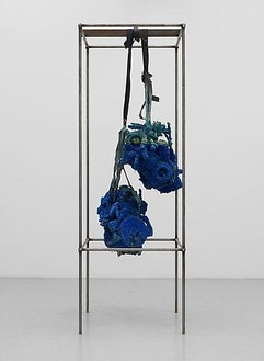 Roger Hiorns, Untitled, 2009 Engines, copper sulphate, and steel, 106 × 35 ½ × 35 ½ inches (269 × 90 × 90 cm)