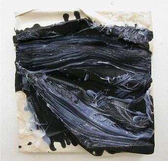 Steven Parrino, Untitled Black, 1995 Enamel, chrome enamel with glue on canvas, 18 ⅛ × 17 ⅛ inches (46 × 43.5 cm)