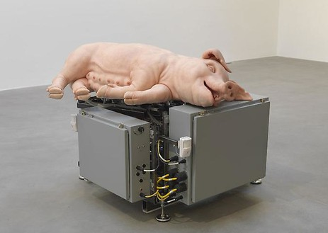Paul McCarthy, Mechanical Pig, 2003–05 Silicone, platinum, fiberglass, metal, and electrical components, 40 × 58 × 62 inches (101.6 × 147.3 × 157.5 cm)© Paul McCarthy