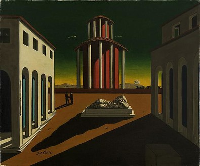 Giorgio de Chirico, Piazza d'Italia con Arianna, 1945 Oil on canvas, 19 ⅝ × 23 ⅝ inches (50 × 60 cm)