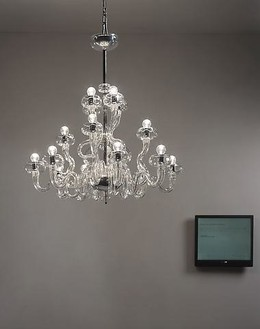 Cerith Wyn Evans, 'Astro-photography' by Siegfried Marx (1987), 2006 Chandelier (Barovier and Toso), flat-screen monitor, Morse code unit, and computer; chandelier: 34 ¼ × 33 ½ inches (87 × 85 cm); overall dimensions variable