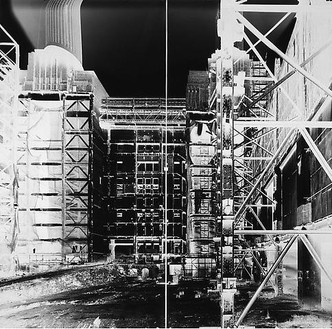 Vera Lutter, Battersea Power Station, XXVI: July 29, 2004, 2004 Unique gelatin silver print, 80 ¼ × 84 inches (102.2 × 213.4 cm)