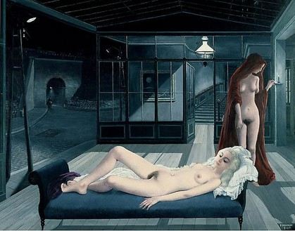 Paul Delvaux, Le canapé bleu, 1967 Oil on canvas, 55 ⅛ × 70 ⅞ inches (140 × 180 cm)