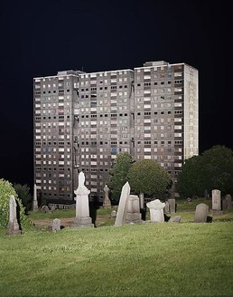 Cyprien Gaillard, View of Sighthill Cemetery, 2008 Chromogenic print mounted on acrylic glass, 83 × 67 inches (211 × 170 cm)