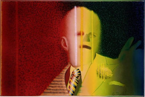 Ed Paschke, Gestapo, 1979 Oil on canvas, 30 × 46 inches (76.2 × 116.8 cm)