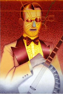 Ed Paschke, Banjo Man, 1978 Oil on canvas, 68 × 46 inches (172.7 × 116.8 cm)