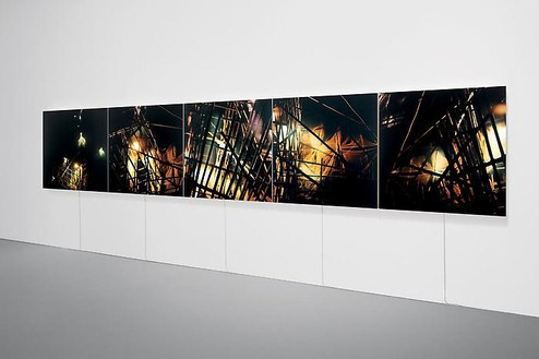 Elisa Sighicelli, Untitled (Grid), 2009 Partially backlit C-print on lightbox, Polyptych: 48 ½ × 48 ½ × 2 ¼ inches each (123.2 × 123.2 × 5.7 cm), edition of 3