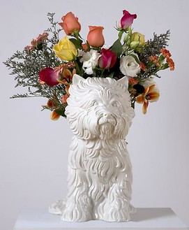 Jeff Koons, Puppy, 1998 White glazed porcelain vase, 17 ½ × 17 ½ × 10 ½ inches (44.4 × 44.4 × 26.7 cm), edition of 3,000© Jeff Koons