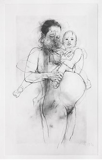 Jenny Saville, Reproduction drawing II (after the Leonardo cartoon), 2009–10 Pencil on paper, framed: 104 ½ × 69 ½ inches (265.5 × 176.5 cm)© Jenny Saville
