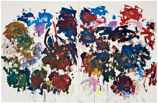 Joan Mitchell, Sunflowers, 1990–91 Oil on canvas, Diptych: 102 ¼ × 157 ½ inches (259.7 × 400 cm)© Estate of Joan Mitchell. Courtesy of the Joan Mitchell Foundation