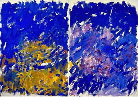 Joan Mitchell, Row Row, 1982 Oil on canvas, Diptych: 110 × 157 ½ inches overall (279.4 × 400 cm)© Estate of Joan Mitchell. Courtesy of the Joan Mitchell Foundation