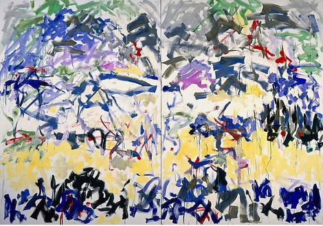 Joan Mitchell, River, 1989 Oil on canvas, Diptych: 110 × 157 ½ inches overall (279.4 × 400 cm)© Estate of Joan Mitchell. Courtesy of the Joan Mitchell Foundation