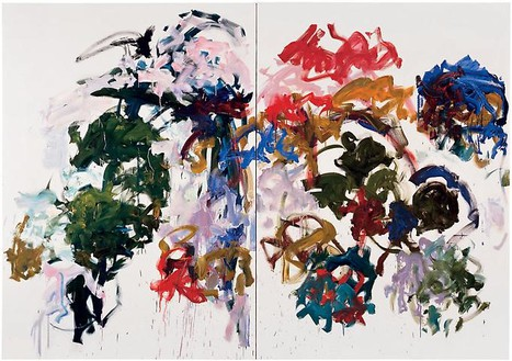 Joan Mitchell, Sunflowers, 1990–91 Oil on canvas, Diptych: 110 × 157 ½ inches (279.4 × 400 cm)© Estate of Joan Mitchell. Courtesy of the Joan Mitchell Foundation