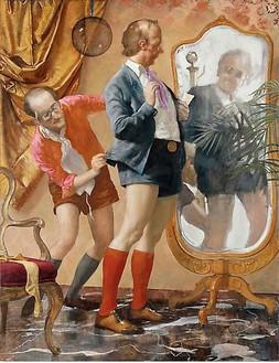 John Currin, Hot Pants, 2010 Oil on canvas, 78 × 60 inches (198.1 × 152.4 cm)© John Currin