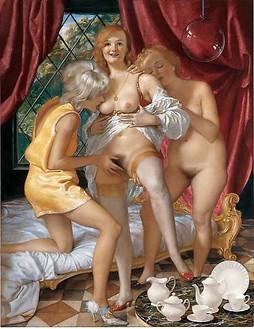 John Currin, The Women of Franklin Street, 2009 Oil on canvas, 88 × 68 inches (223.5 × 172.7 cm)© John Currin