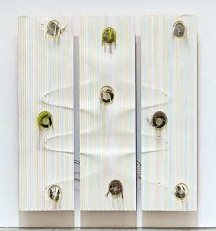 Jorge Pardo, Untitled, 2010 Acrylic on milled MDF, laser cut acrylic, high velocity fans, 3 panels: 84 × 80 × 1 inches overall (213.4 × 203.2 × 2.5cm)Photo by Douglas M. Parker Studio