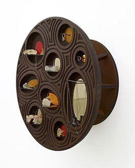 Jorge Pardo, Untitled (Jewelry Vitrine 1), 2010 (detail) Milled MDF, laser-cut acrylic, glass and jewelry, 2 pieces: table: 28 ½ × 27 × 27 in (72.4 × 68.6 × 68.6cm); wall vitrine: 27 × 27 × 13 in. (68.6 × 68.6 × 33cm)Photo by Douglas M. Parker Studio
