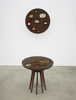 Jorge Pardo, Untitled (Jewelry Vitrine 2), 2010 Milled MDF, laser-cut acrylic, glass and jewelry, 2 pieces: table: 28 ½ × 27 × 27 in (72.4 × 68.6 × 68.6cm); wall vitrine: 27 × 27 × 13 in. (68.6 × 68.6 × 33cm)Photo by Douglas M. Parker Studio