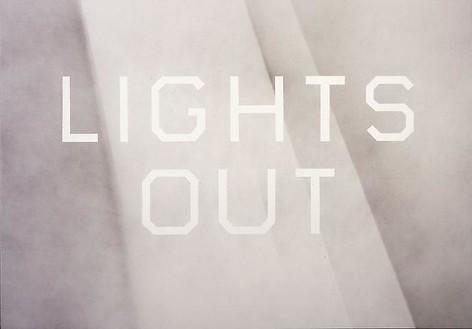 Ed Ruscha, Lights Out, 2008 Acrylic on canvas, 42 × 60 inches (106.7 × 152.4 cm)© Ed Ruscha