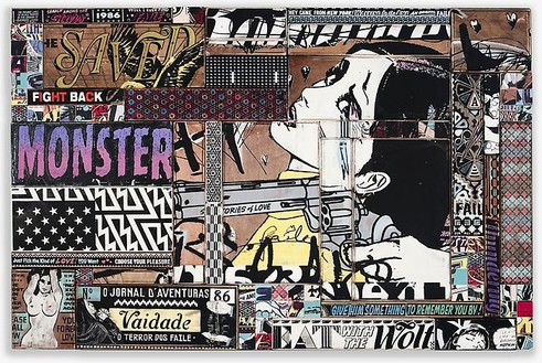 Faile, Waiting for the End, 2009 Acrylic and silkscreen on wood in a steel frame, 42 ½ × 64 ½ × 2 ½ inches (108 × 164 × 6 cm)
