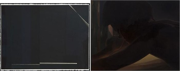 Monica Majoli, Diptych: Black Mirror (1) / Black Mirror (Kate), 2009 1: acrylic, acrylic ink, and gouache on paper, 24 × 30 inches (61 × 76.2 cm); Kate: oil on panel, 16 × 20 inches (40.6 × 50.8 cm)Photo: Josh White