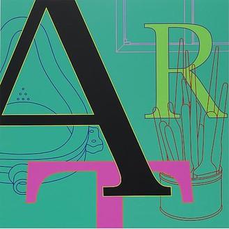 Michael Craig-Martin, ART (green), 2010 Acrylic on aluminum, 48 × 48 inches (122 × 122 cm)