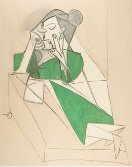 Pablo Picasso, Femme étendue lisant, 1952 Oil on canvas with traces of charcoal, 63 ¾ × 51 ⅛ inches (162 × 130 cm)© 2010 Estate of Pablo Picasso/Artists Rights Society (ARS), New York