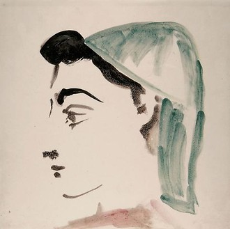 Pablo Picasso, Femme de profil au foulard vert, 1956 Terracotta, painted with green, black, and pink enamel on a white background, 8 ⅛ × 8 ⅛ × ⅜ inches (20.5 × 20.5 × 1 cm)© 2010 Estate of Pablo Picasso/Artists Rights Society (ARS), New York