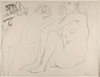 Pablo Picasso, Trois femmes nues, 1943 India ink on paper, 20 ½ × 26 ⅜ inches (52 × 67 cm)© 2010 Estate of Pablo Picasso/Artists Rights Society (ARS), New York