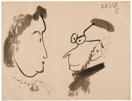Pablo Picasso, Conversation (croquis), 1958 India ink on paper, 9 ⅞ × 12 ⅝ inches (25 × 32 cm)© 2010 Estate of Pablo Picasso/Artists Rights Society (ARS), New York