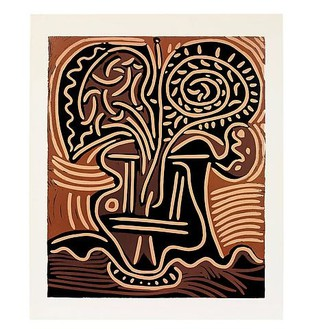 Pablo Picasso, Bouquet dans un vase, 1959 3rd state: linocut in 4 colors on 1 linoblock pulled on Arches vellum, 29 ½ × 24 ½ inches (75 × 62 cm), edition of 50© 2010 Estate of Pablo Picasso/Artists Rights Society (ARS), New York