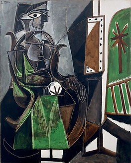 Pablo Picasso, Femme assise près de la fenêtre, June 11, 1956 Oil on canvas, 63 ¾ × 51 ¼ inches (162 × 130 cm)© 2010 Estate of Pablo Picasso/Artists Rights Society (ARS), New York