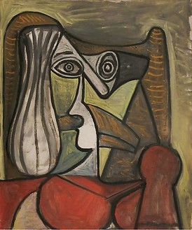 Pablo Picasso, Buste de femme dans un fauteuil, March 6, 1949 Oil on canvas, 25 ½ × 21 ¼ inches (65 × 54 cm)© 2010 Estate of Pablo Picasso/Artists Rights Society (ARS), New York