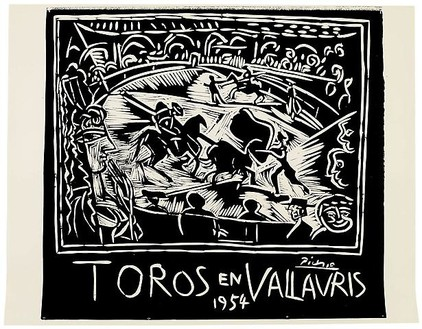 Pablo Picasso, Toros en Vallauris, 1954 Linocut: 1 linoblock, pulled in black on poster paper by Arnéra, 29 ¾ × 37 ¾ inches (75.5 × 96 cm), edition of 240© 2010 Estate of Pablo Picasso/Artists Rights Society (ARS), New York