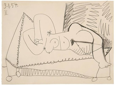 Pablo Picasso, Femme couchée, January 3, 1954 Pencil on paper, 9 ¼ × 12 ½ inches (23.5 × 31.5 cm)© 2010 Estate of Pablo Picasso/Artists Rights Society (ARS), New York
