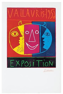 Pablo Picasso, Vallauris—1956 Exposition, June 19, 1956 Linocut in 5 colors on 5 linoblocks, pulled on Arches wove paper by Arnéra, 39 ¼ × 26 inches (100 × 66 cm), AP 1/21 + edition of 20 © 2010 Estate of Pablo Picasso/Artists Rights Society (ARS), New York