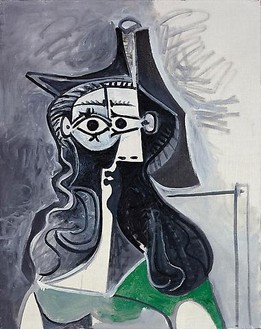 Pablo Picasso, Portrait de femme assise à la robe verte, February 11, 1961 Oil on canvas, 36 ¼ × 28 ¼ inches (92 × 72 cm)© 2010 Estate of Pablo Picasso/Artists Rights Society (ARS), New York