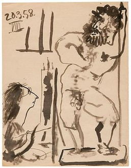 Pablo Picasso, Peintre dans son atelier, March 20, 1958 India ink on paper, 12 ½ × 9 ¾ inches (32 × 25 cm)© 2010 Estate of Pablo Picasso/Artists Rights Society (ARS), New York